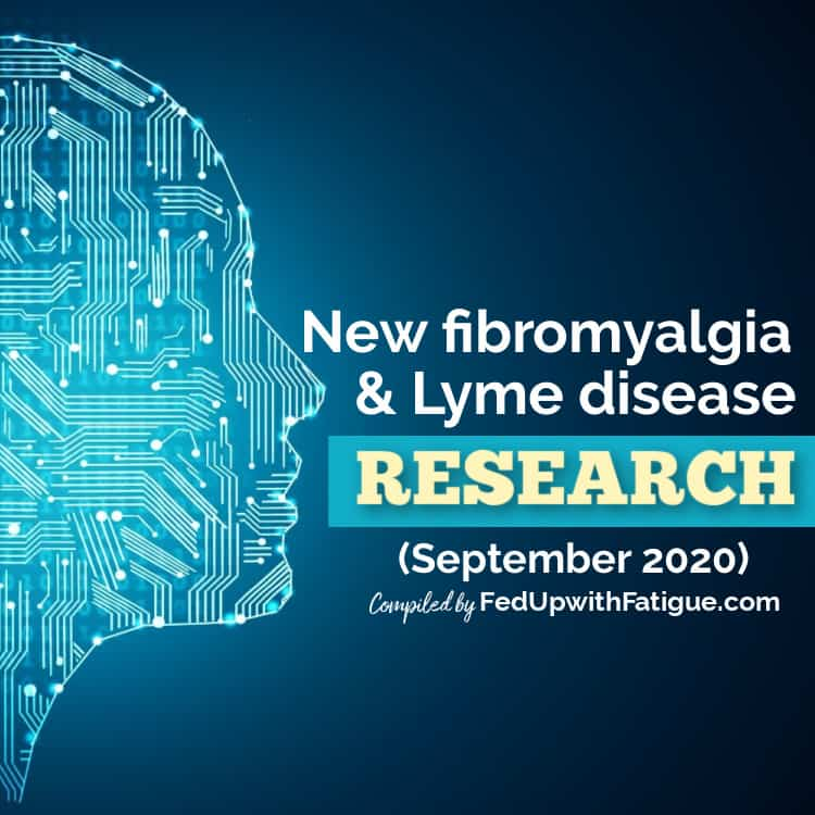 "Computerized image of the side profile of a human head with the words ""New fibromyalgia and Lyme disease research - September 2020."""