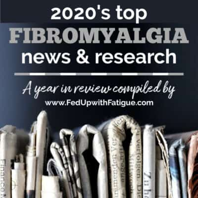 """The photo has a stack of newspapers with the words """"2020's top fibromyalgia news and research"""" appearing as a text overlay on the top of the photo. ."""